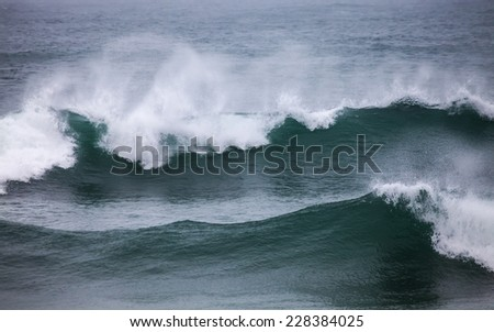Mighty Waves and Wind of Atlantic Ocean, Cresmina Guincho, Portugal
