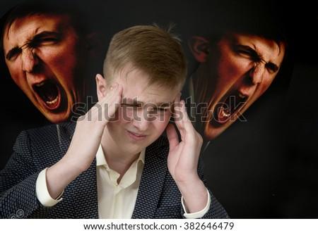 Migraine. Concept photo with double exposure - stock photo