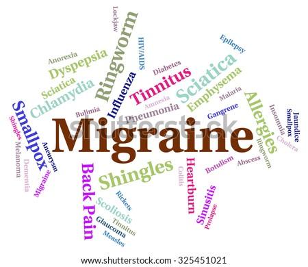 Migraine Headache Showing Neurological Disease And Contagion - stock photo