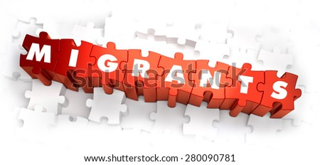 Migrants - Text on Red Puzzles on White Background. 3D Render. - stock photo