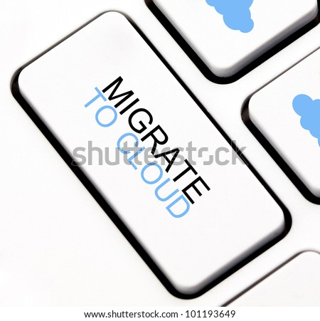 Migrate to cloud keyboard key - stock photo