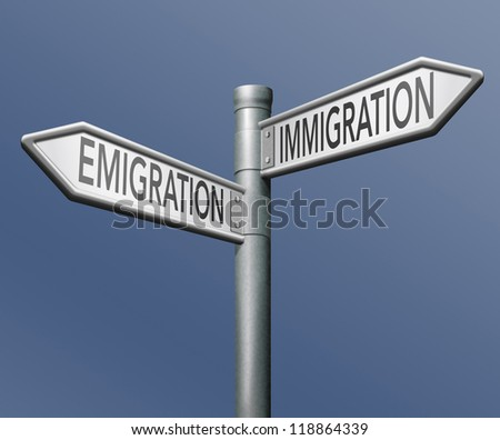 migration immigration and emigration urbanization visa or green card to become citizen - stock photo
