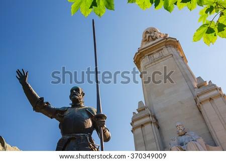 Miguel de Cervantes monument, Plaza de Espana, Madrid - stock photo