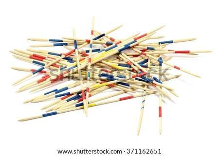 mikado pick-up sticks isolated on white background - stock photo