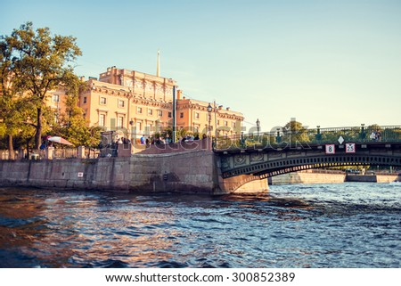 Mikhailovsky Castle. View from the Fontanka river in Saint Petersburg, Russia