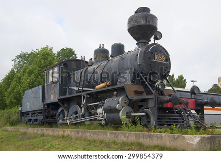 MIKKELI, FINLAND - AUGUST 10, 2013: MIKKELI, FINLAND - AUGUST 10, 2013:Old steam locomotive-monument T?-3 train station