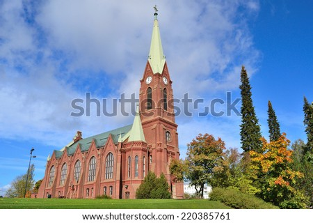 Mikkeli, Finland. Lutheran Cathedral in a sunny autumn day