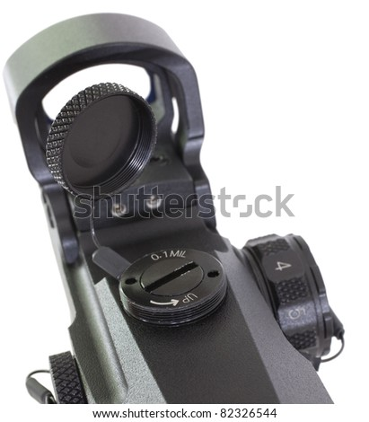 Mil adjustable rifle scope that is isolated on a white background