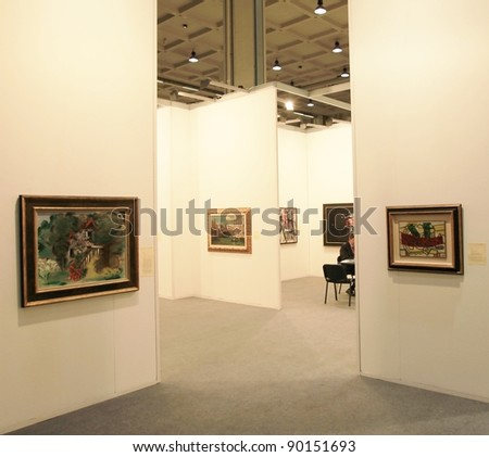 MILAN - APRIL 08: Paintings and sculpture galleries on display during MiArt, international exhibition of modern and contemporary art on April 08, 2011 in Milan, Italy. - stock photo