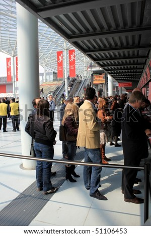 MILAN - APRIL 15: People buy ticket to enter Salone del Mobile, international furnishing accessories exhibition April 15, 2010 in Milan, Italy.