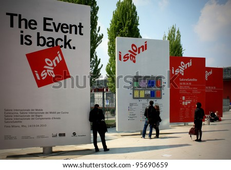 MILAN - APRIL 15: People enter at Salone del Mobile, international furnishing accessories exhibition April 15, 2010 in Milan, Italy. - stock photo