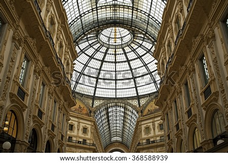 MILAN - APRIL 28: The Galleria Vittorio Emanuele II, Italy on April 28, 2015. Interior and the glass dome in the Gallerie Vittorio Emanuele II.