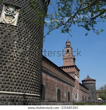 milan castle - stock photo