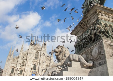Milan Cathedral and monument - stock photo
