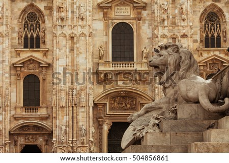 Milan Cathedral and monument. Outdoor shot