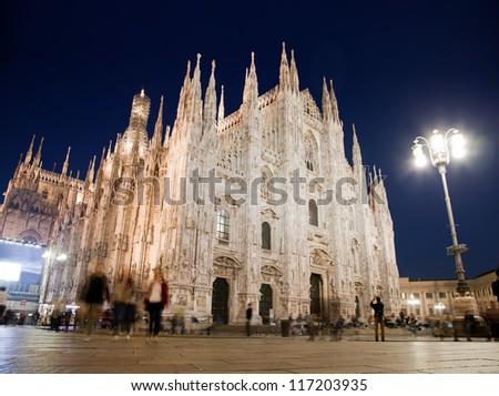 Milan Cathedral at Piazza del Duomo at night. Lombardy, Italy. - stock photo
