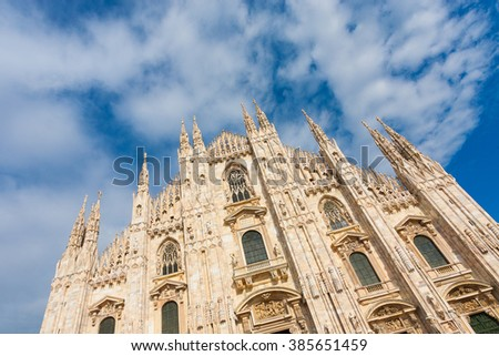 Milan Cathedral at Piazza del Duomo. Lombardy, Italy. - stock photo