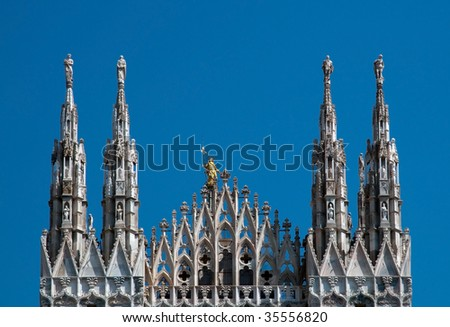 Milan Cathedral (Dome, Duomo di Milano) is the cathedral church of Milan in Lombardy, northern Italy. - stock photo