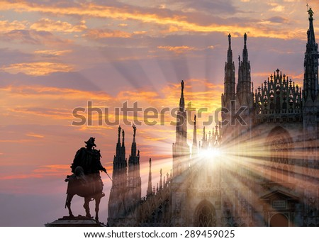 Milan Cathedral Dome facade with statue of Vittorio Emanuele II - stock photo