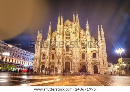 Milan cathedral dome - Italy, effect vintage boken - stock photo