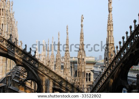Milan Cathedral (Duomo di Milano) is the cathedral church of Milan in Lombardy, northern Italy. - stock photo
