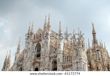 Milan Cathedral (Duomo di Milano) is the cathedral church of Milan in Lombardy, northern Italy. It is the seat of the Archbishop of Milan. - stock photo