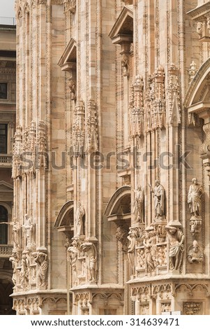 Milan Cathedral (Duomo di Milano)is the cathedral church of Milan, Italy. The Gothic cathedral took  six centuries to complete. The 5th largest church in the world and the 2nd largest in Italy.   - stock photo
