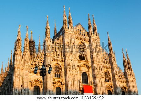 Milan Cathedral (Duomo di Milano) is the Gothic Cathedral Church of Milan, Italy - stock photo