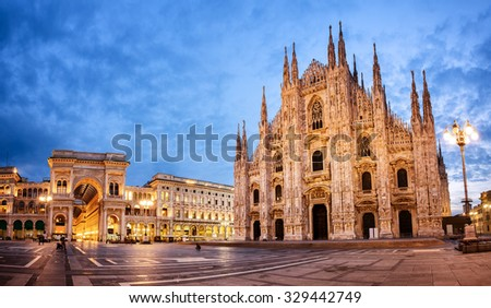 Milan Cathedral, Duomo di Milano, one of the largest churches in the world - stock photo