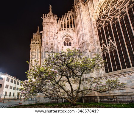 Milan Cathedral, Duomo di Milano, one of the largest churches in the world.The Gothic cathedral took nearly six centuries to complete - stock photo