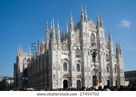 Milan Cathedral front view in a sunny day - stock photo