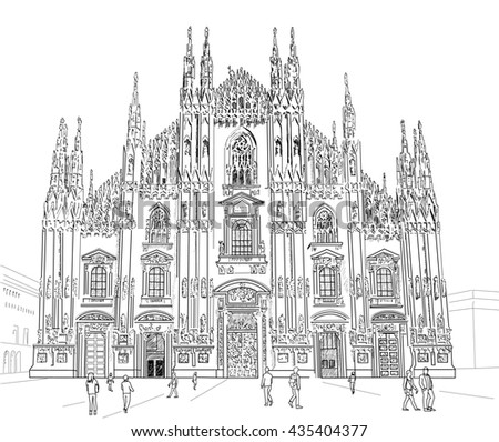 Milan Cathedral Gothic Architecture Hand Drawn Stock Illustration 435404377
