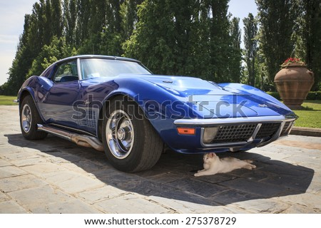 Milan 02/05/2015 - Chevrolet Corvette Stingray. The classic American sports car is very popular for wedding services. - stock photo