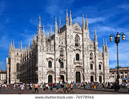 MILAN - CIRCA JULY 2009: Milan Cathedral is the cathedral church of Milan in Lombardy, northern Italy, circa July 2009. The Gothic cathedral took nearly six centuries to complete. - stock photo