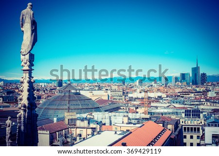 Milan city monuments and places Porta Garibaldi district from Duomo roof terrace- vintage style photo  - stock photo