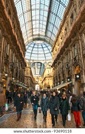 MILAN - DECEMBER 11: Galleria Vittorio Emanuele on December 11, 2009 in Milan, Italy. As of 2006, Milan was the 42nd most visited city worldwide, with 1.9 million annual international visitors. - stock photo