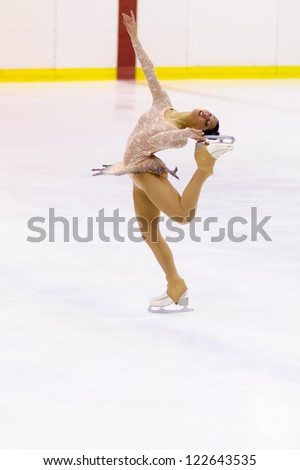 MILAN-DECEMBER 22: Micol Cristini   perform in Italian Championships of Figure Skating 2012 on December 22 , 2012 in Milan, Italy