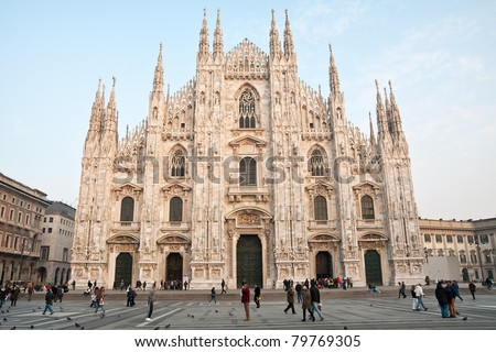 MILAN - DECEMBER 17: Milan Cathedral (Duomo di Milano) on December 17, 2009 in Milan. The Gothic cathedral took almost six centuries to complete and is the fourth largest in the world. - stock photo