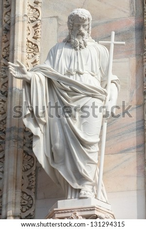 Milan Duomo sculpture. One of statues in the Cathedral of Milan (Italy).
