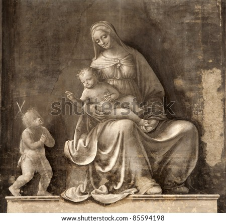 Milan - fresco of virgin Mary - monochrome Madonna from San Marco church