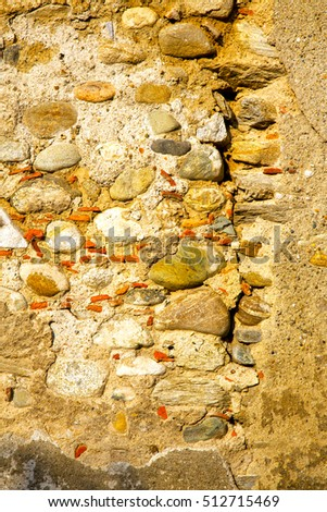 milan  in italy old church concrete wall  brick   the    abstract  background stone