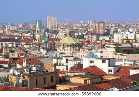 Milan in Italy, view from the Cathedral - stock photo