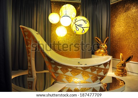 MILAN, ITALY - APR 9: Bathroom with mosaic made at Salone del Mobile, international furnishing accessories exhibition in Milan, Italy- April 9, 2014   - stock photo