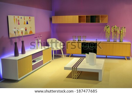 MILAN, ITALY - APR 9: Room at Salone del Mobile, international furnishing accessories exhibition in Milan, Italy- April 9, 2014   - stock photo