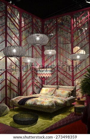 MILAN, ITALY - APR 14: Salone del Mobile, international furnishing accessories exhibition in Milan, Italy- April 14, 2015  - stock photo