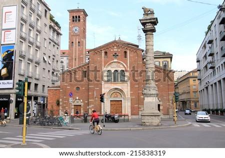 MILAN, ITALY - APRIL 20, 2014: A view of the San Babila church in Milan, Italy. - stock photo