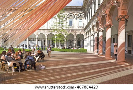 MILAN, ITALY-APRIL 12, 2016: art design installation at the old Statale University's coutyard , during the Fuori Salone of the International Design Week, Salone del Mobile, in Milan. - stock photo