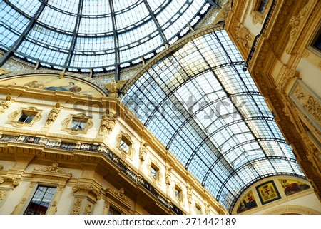 MILAN, ITALY - APRIL 03 : Beautiful art in Vittorio Emmanuele II Gallery on April 03, 2015 in Milan, Italy. - stock photo