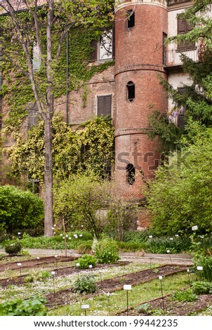 MILAN, ITALY - APRIL 6: Botanic garden of Brera in Milan on April 6, 2012. Built in the 17th century by jesuits, with its 5000 square meters, it is a charming corner in the heart of Milan.
