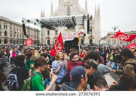 MILAN, ITALY - APRIL 25: celebration of liberation held in Milan on April 25, 2015.People took the streets in Milan to celebrate the 70th anniversary of the liberation of Italy from Nazism and Fascism
